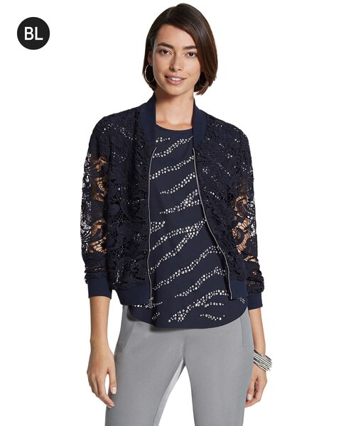 Cropped Lace Bomber Jacket