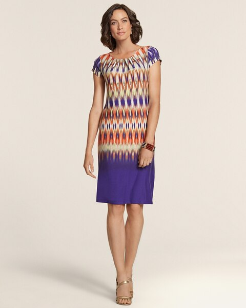 Ombre Ikat Print Jersey Ilana Knit Dress