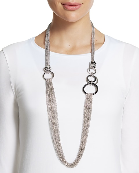 Lainie Long Silver Chain Necklace