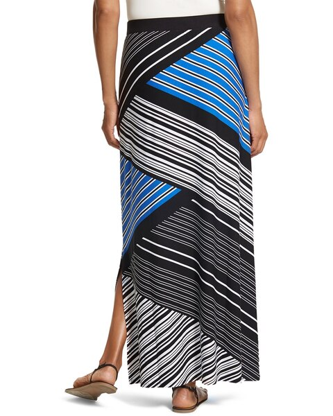 Spliced Stripe Column Skirt