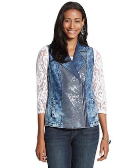 Sequin Moto Denim Vest