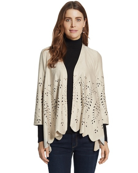 Faux-Suede Cutwork Jacket