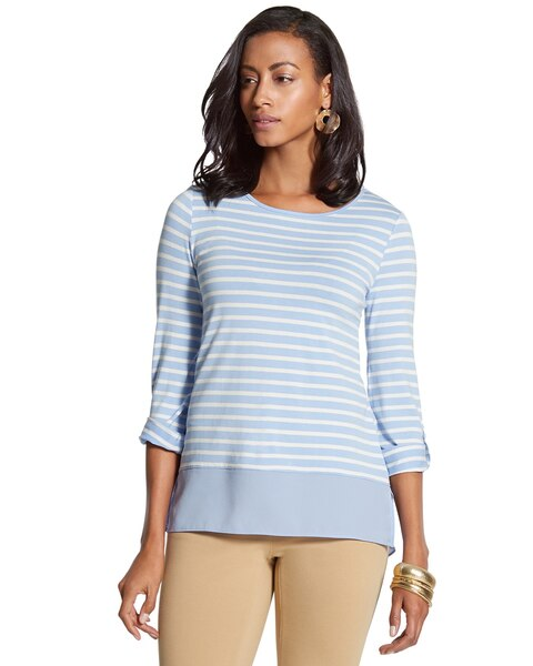 Twin Stripe Wendi Woven Hem Top