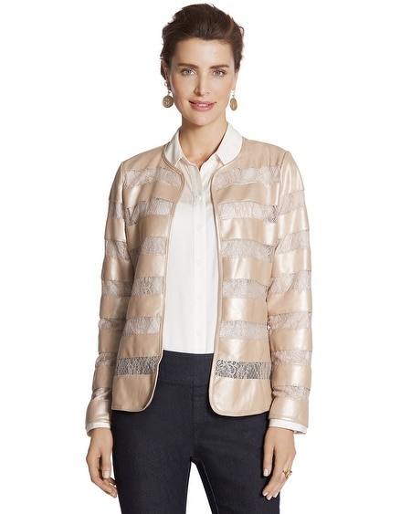 Faux-Leather Lace Inset Jacket