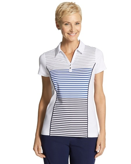 Zenergy Golf Stripe Button Polo Top