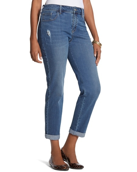 Platinum Denim Destructed Gem Boyfriend Jeans