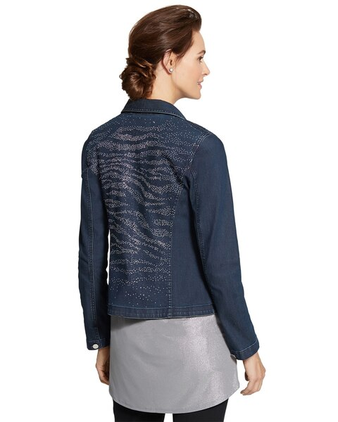 Denim Zebra Embellished Jacket