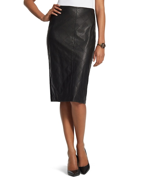 Faux-Leather Quilted Skirt - Chicos