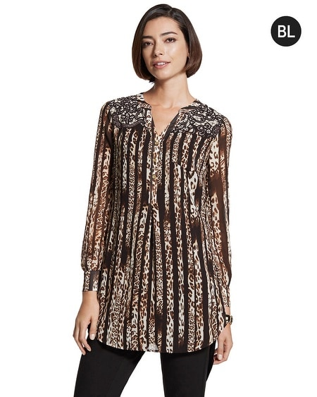 Black Label Mixed-print Zip Back Blouse