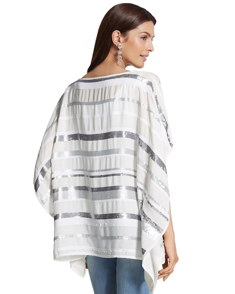 Sequin Stripe Poncho