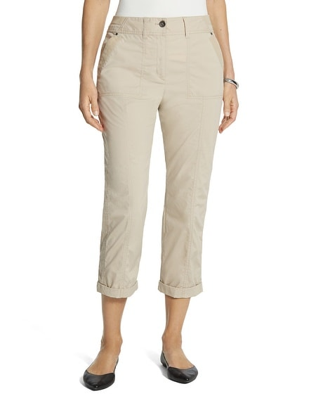 Cool Cotton Roll-Cuff Crop Pants