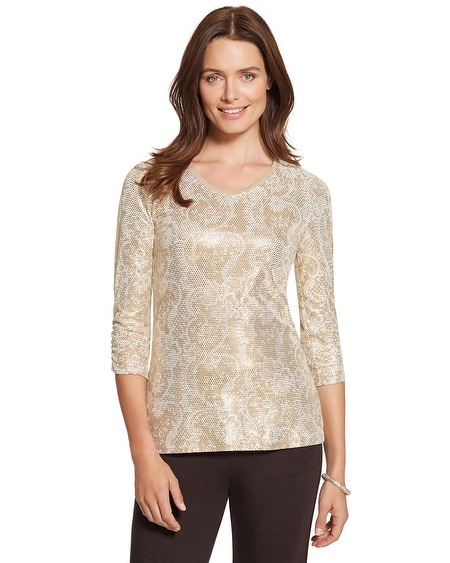 Zenergy Retreat Foil Dot Print Top
