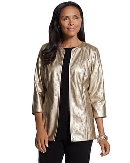 Travelers Collection Gold Perforated Jacket