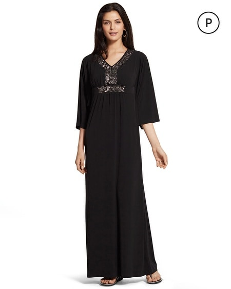 Petite Embellished Neck Caftan Dress