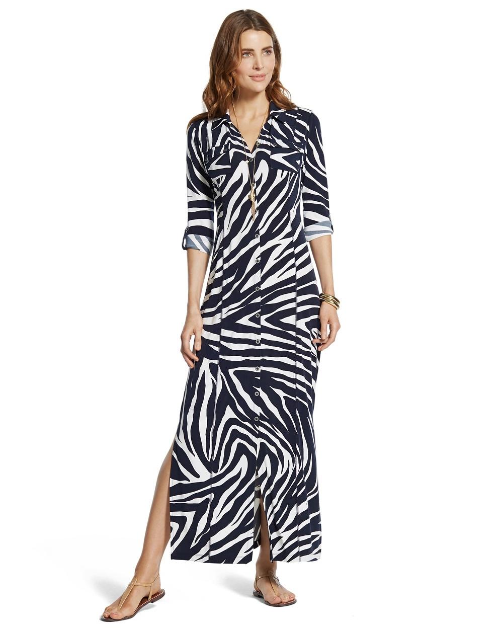 Return to thumbnail image selection Zebra-Print Maxi Dress video preview  image d55add416