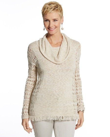 Tiffany Fringe Cowl Neck Sweater