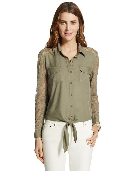Dreama Lace Button-Down Top