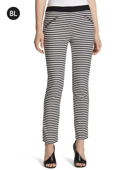 Black Label Striped Slim Ankle Pants