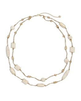 Anne Faux-Snakeskin Double-Strand Necklace