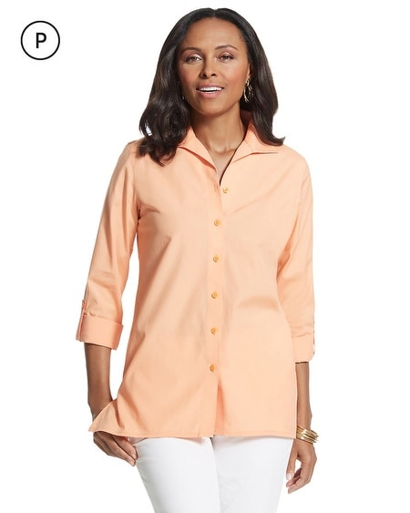 Petite Effortless Roll-Sleeve Cayla Shirt