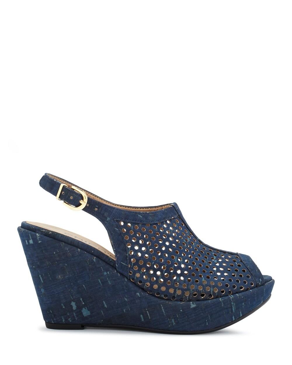 elanor danube blue cork wedge sandals chicos