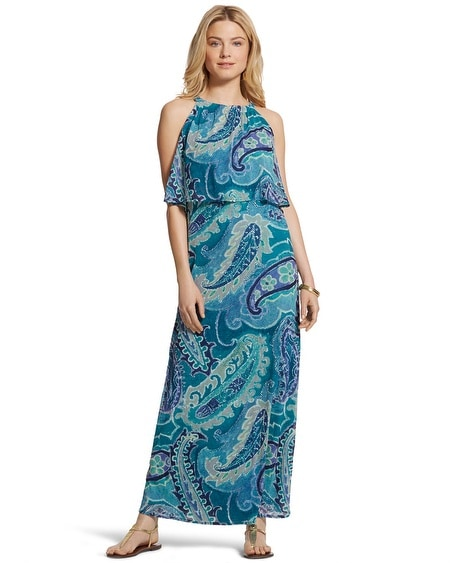 Ocean Paisley Bib Maxi Dress