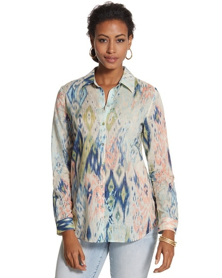 Multi-Ikat Viola Button-Down Shirt