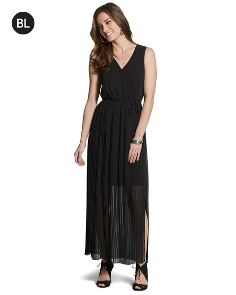 Black Label Pleated Maxi Dress Chicos