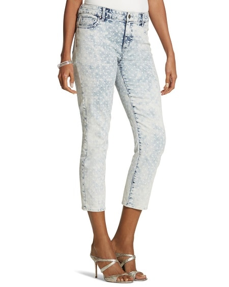 Platinum Denim Dot-Print Crop Jeans