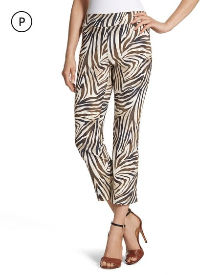 So Slimming Petite Zebra-Print Crop Pants