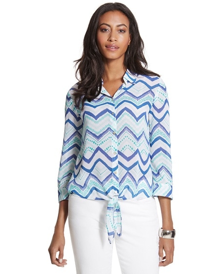 Dallas Zigzag Button-Down Blouse