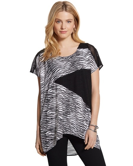 Travelers Collection Spliced Zebra-Print Top