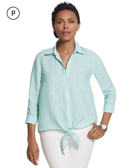 Petite Effortless Linen Striped Lydia Shirt