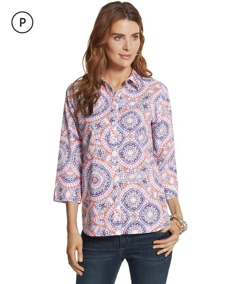 Petite Effortless Danise Sunburst Button-Down Shirt