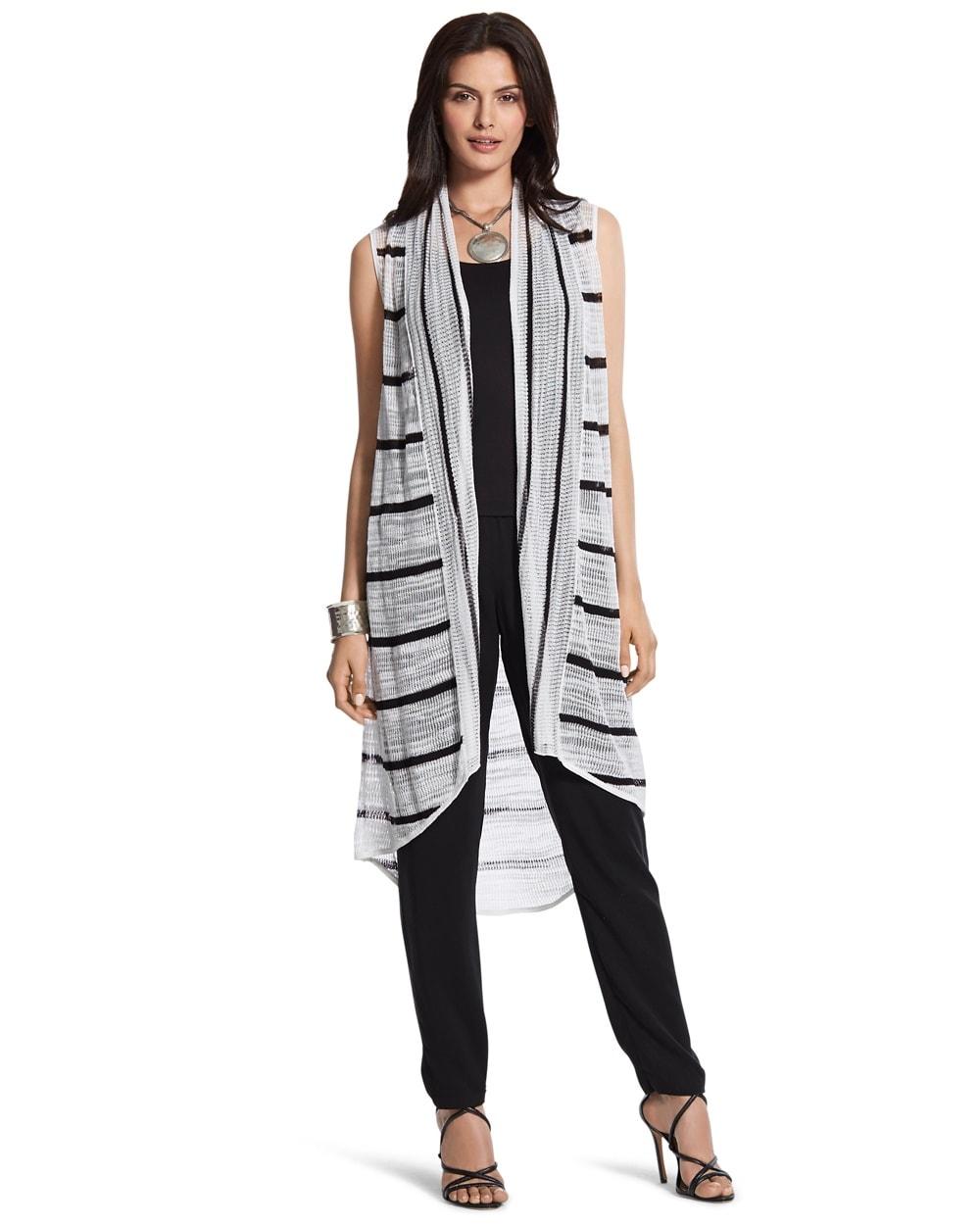 Alana Striped Long Sweater Vest - Chicos