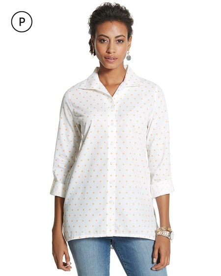 Petite Effortless Cayla Dot Wrinkle-Free Shirt