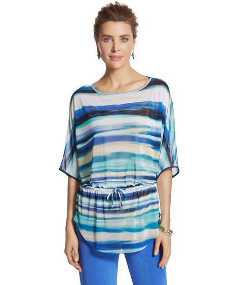 Travelers Collection Watercolor Striped Top