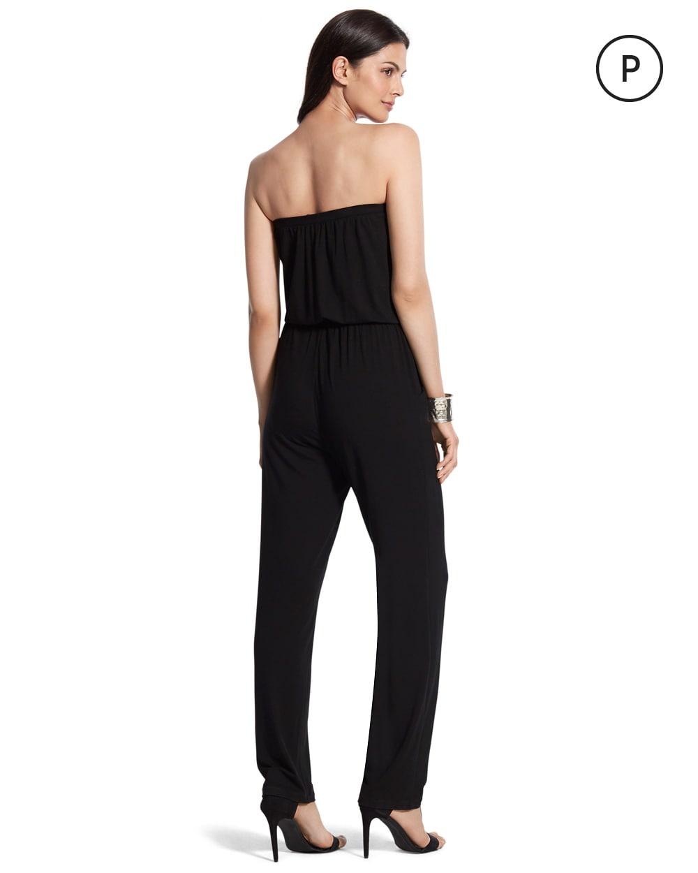 petite convertible black jumpsuit chicos. Black Bedroom Furniture Sets. Home Design Ideas