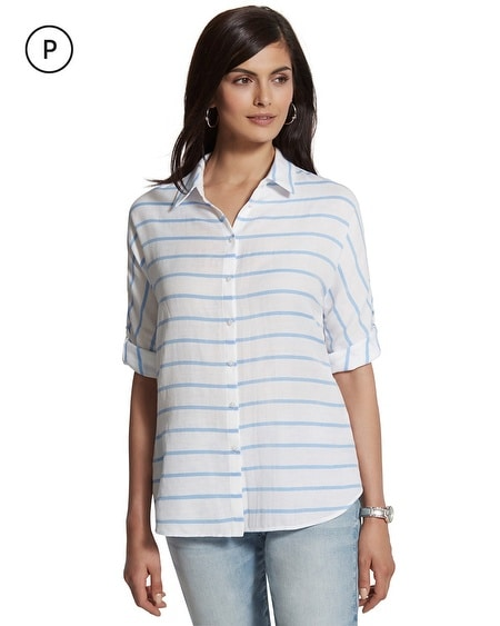 Petite Cinthia Striped Button-Down Shirt