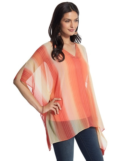 Party Stripe Sheer Poncho