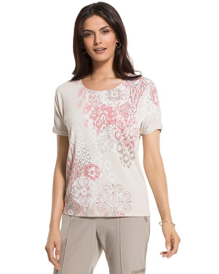 Zenergy Violet Floral-Print Relaxed Tee