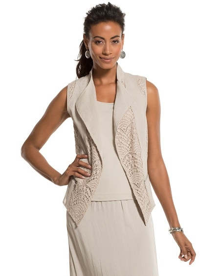 Linen and Crocheted Lace Mix Vest