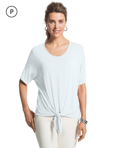 Petite Seamed Tie-Front Top
