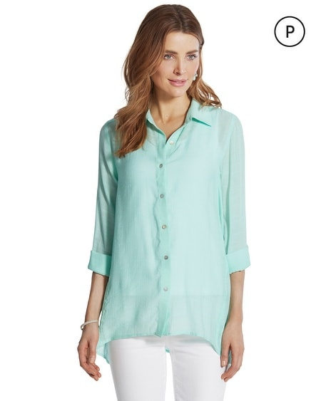 Petite Audrie Textured Button-Down Shirt