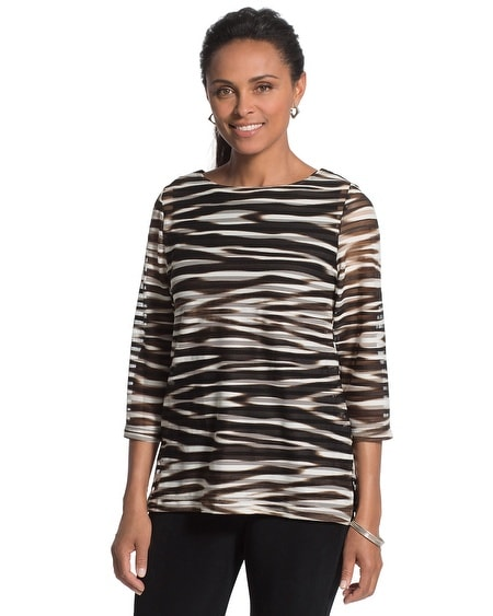 Travelers Collection Zebra-Striped Top
