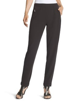 Magique Pinstriped Tapered Ankle Pants