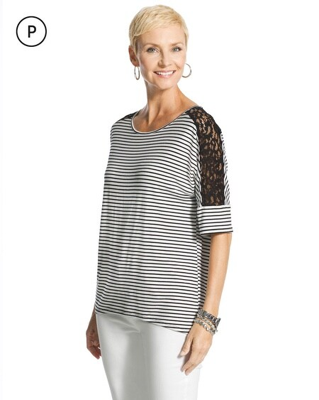 Petite Lorrine Striped Lace Top