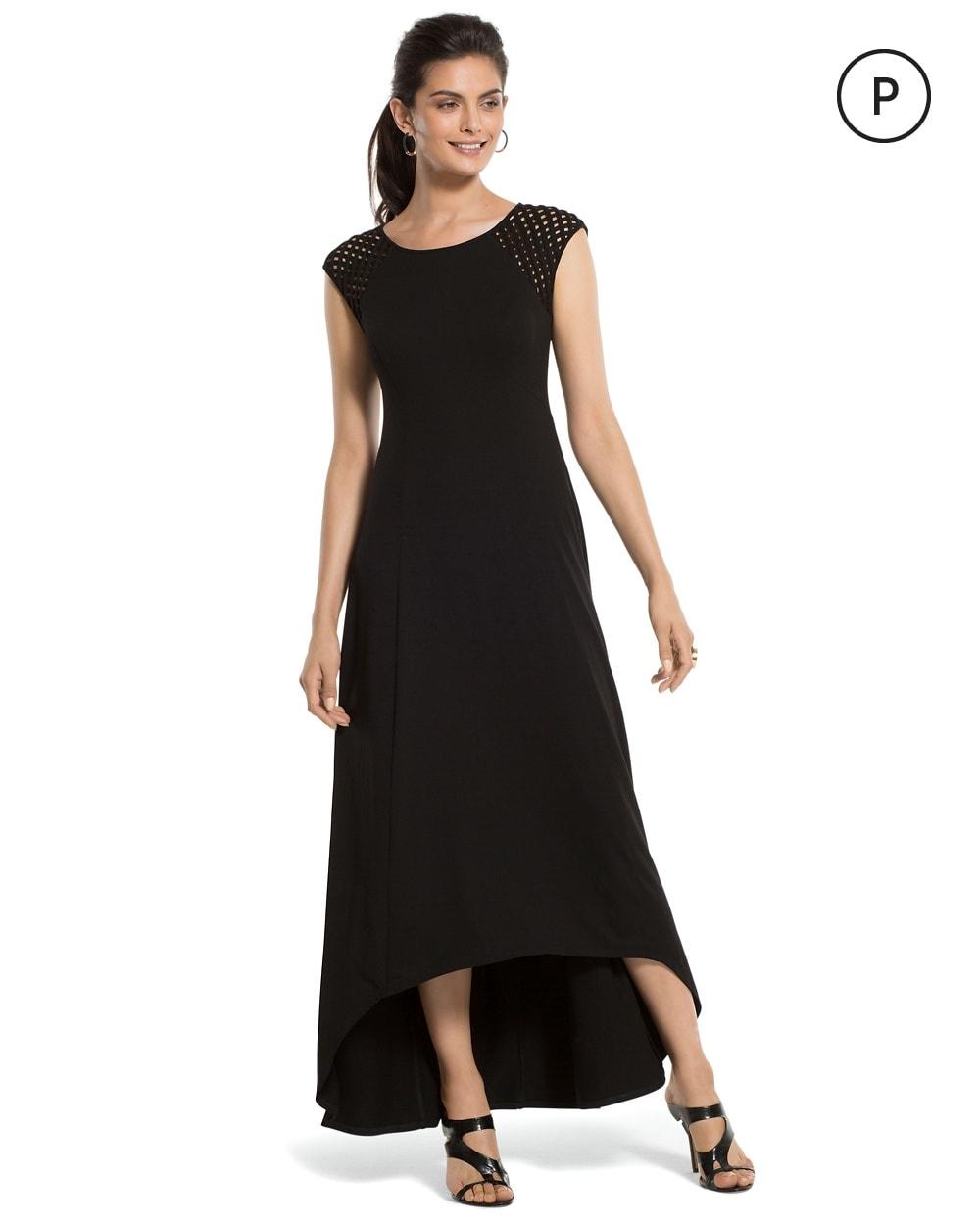 Petite Lattice Shoulder Black Maxi Dress Chicos