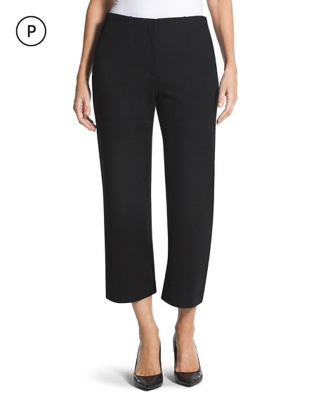 Petite Ponte Wide-Leg Crop Pants