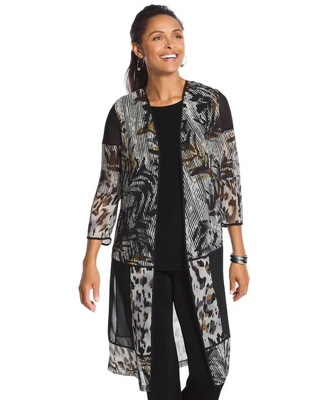 Travelers Collection Patchwork Sheer Duster Jacket